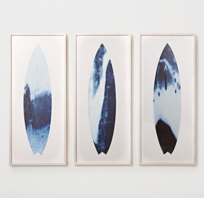 RH TEEN's Abstract Surfboard Prints:Evoking the laid-back feel of beach life, our oversized surfboard is printed in shades of blue that range from dark to light – a nod to the ever-changing sea.