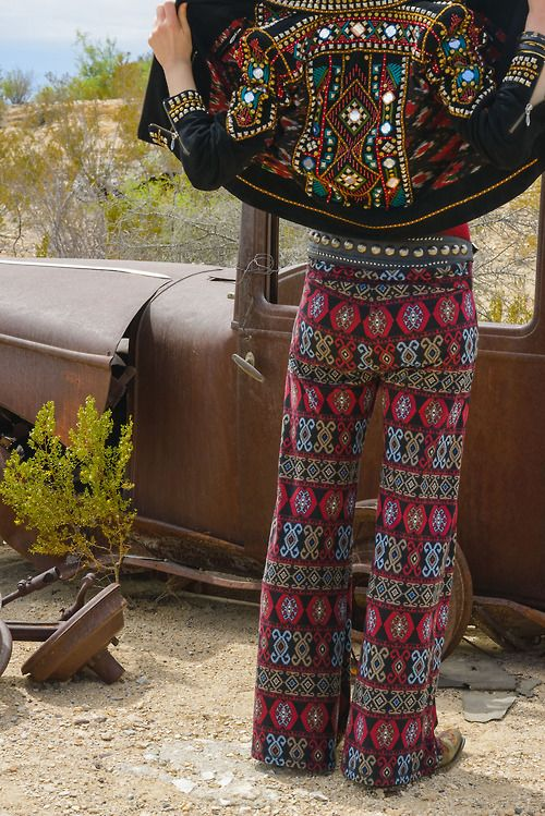 Love the embellished boho jacket with embroidered textile pants and old rusted truck