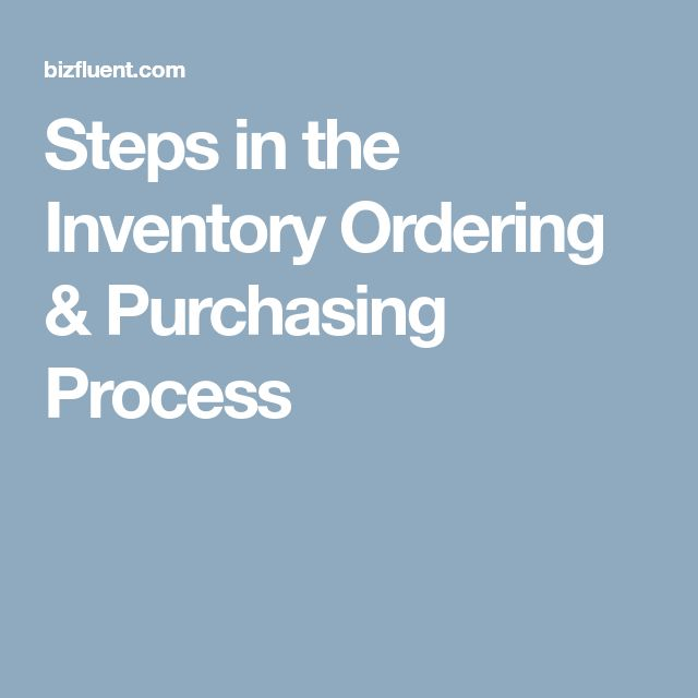 Steps in the Inventory Ordering & Purchasing Process