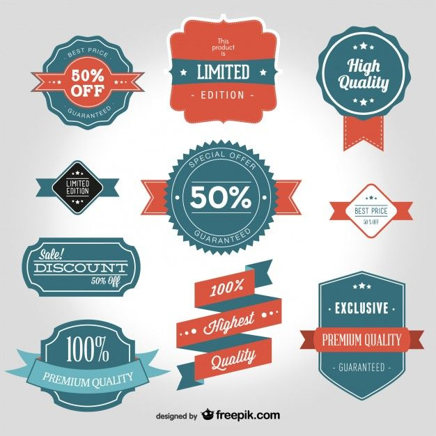 Vintage badges for high quality products Free Vector