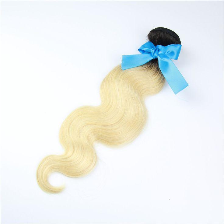 613 Blonde Virgin Hair 1 Bundles Dark Roots Blond Hair Extensions peruvian Virgin blond Hair Body Wave 100% Human Hair Weave