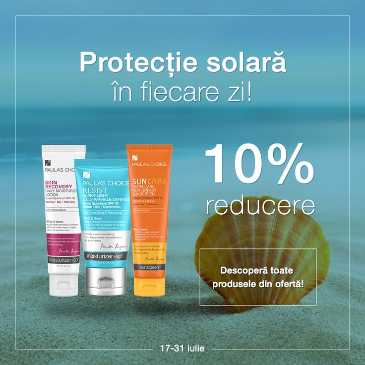 Nu lăsa ca pielea ta să sufere în urma expunerii zilnice la soarele puternic de vară! Alege o cremă hidratantă cu protecție solară potrivită tipului tău de piele, pe care o poți achiziționa cu 10% reducere până la sfârșitul lunii.