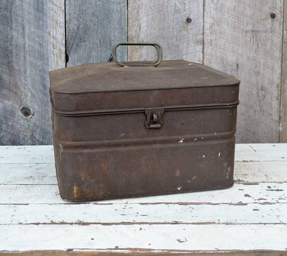 Vintage Acme Metal Lunch Box Miners Railroad Hinged Lid Latch