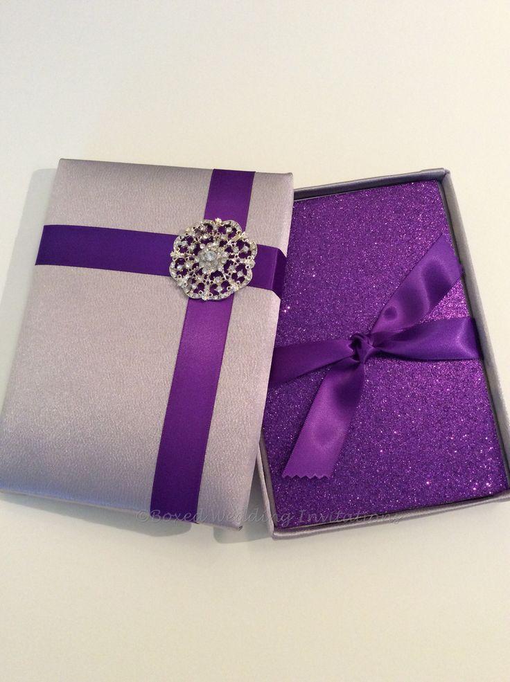 luxury silk wedding invitation box u0026 glitter