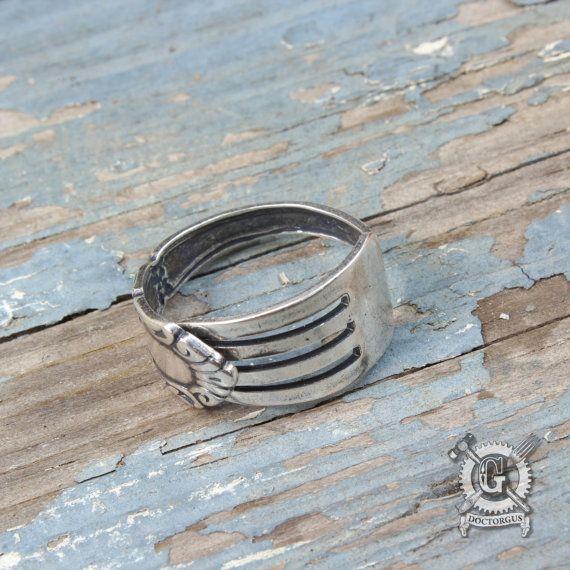 Demitasse Fork Ring - Self Adjustable - Stackable - Midi ring - Sterling Silver Plated - Antique Victorian Inspired Design