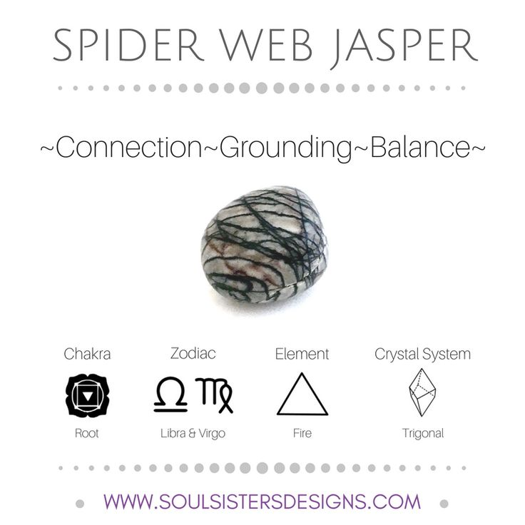 Metaphysical Healing Properties of Spider Web Jasper, including associated Chakra, Zodiac and Element, along with Crystal System/Lattice to assist you in setting up a Crystal Grid. Go to https:/wwwsoulsistersdesigns.com to learn more!
