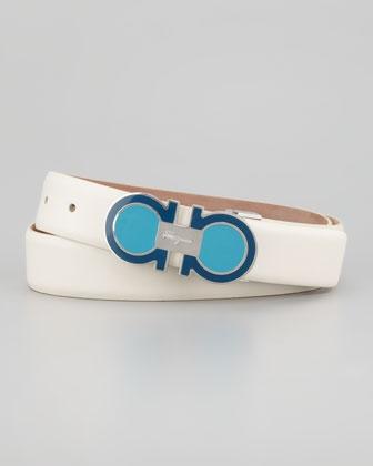 fendi designer belts xg8x  Enamel Gancini-Buckle Belt, Ivory by Salvatore Ferragamo at Bergdorf  Goodman