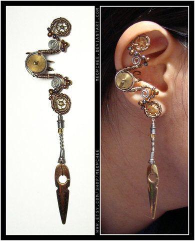 STEAMPUNK EARRINGPretty Things, Google Search, Earrings W, Ear Cuffs, Jewelry Steampunk, Steampunk Earrings, Earcuff, Steampunk Ears, Ears Cuffs
