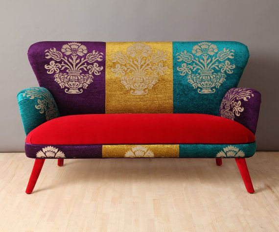 Handmade two seater sofa upholstered with colourful Gobelin and red velvet fabrics mix. Beautiful combination of the lovely colors. Beecj wood