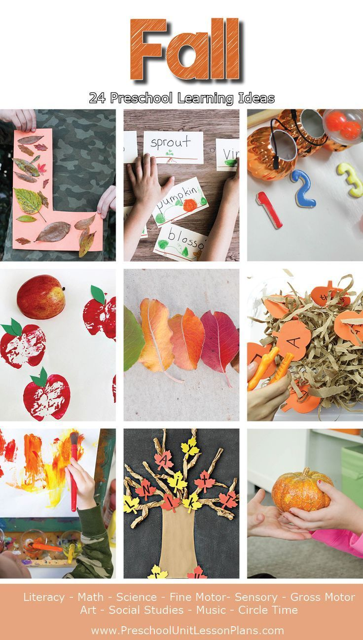 24 preschool learning activities for your fall theme, including literacy, math, science, art, fine motor, and more! A great resource for teachers and homeschoolers.