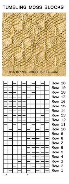 Tumbling Moss Blocks. Just Knit and Purl