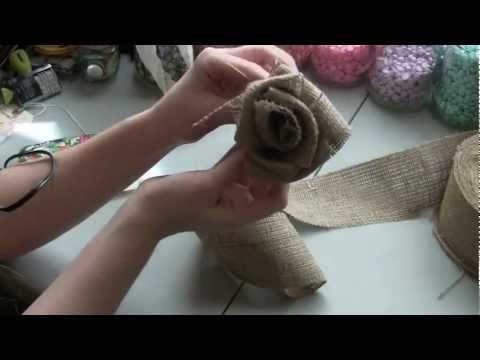 Burlap roses...these would look great on a wreath.