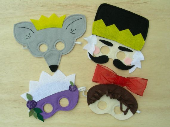 """Nutcracker Play Mask set - to go along with the reading of """"The Nutcracker"""" book - seems like you could make these easily out of rubber bands and felt or construction paper!"""