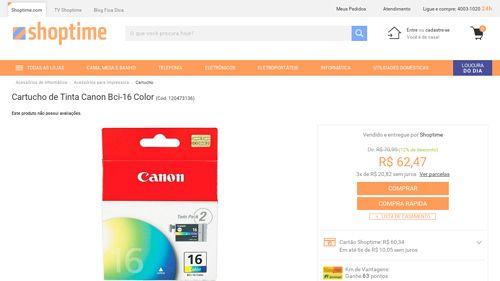 [Shoptime] Cartucho de Tinta Canon Bci - 16 Color - de R$ 63,09 por R$ 62,47 (1% de desconto)