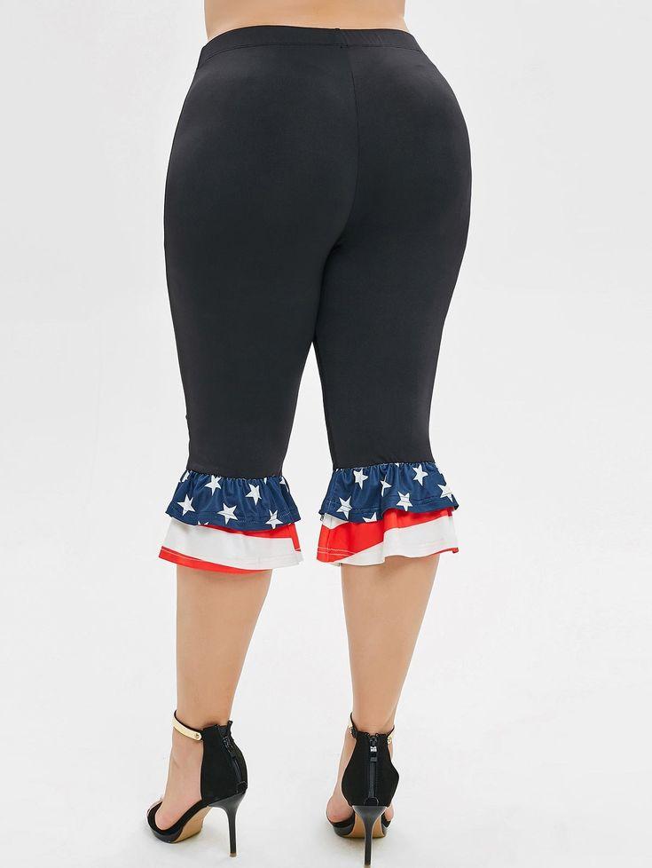 American Flag Flounces Layered Plus Size Pants 1