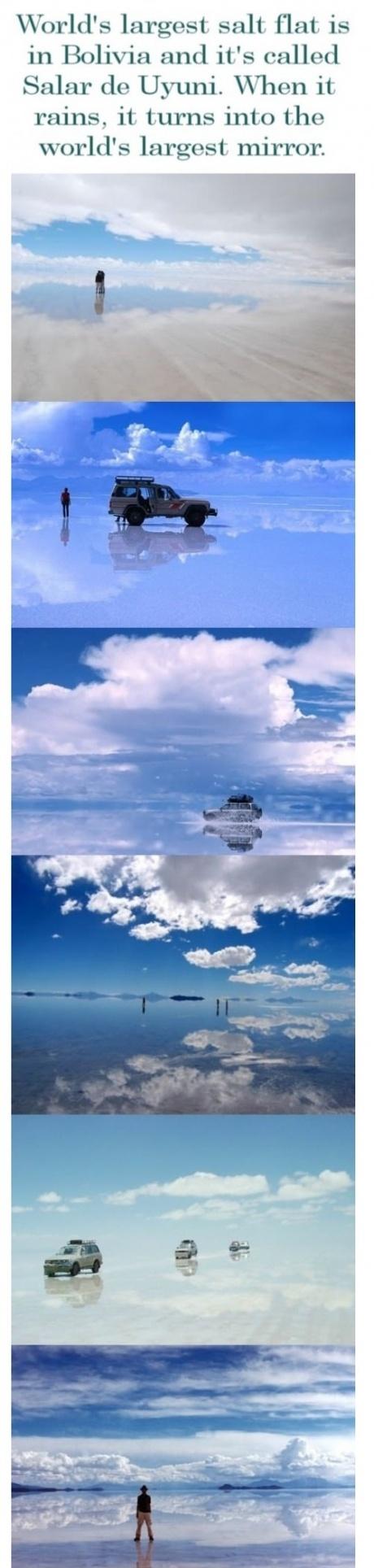 Meanwhile in Bolivia, called salar de uyuni, when it rains, worlds larget mirror, salt flat