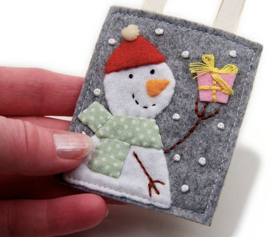 Little Felt Snowman Ornament Handmade Wearing by JennMaruskaDesign, $8.00