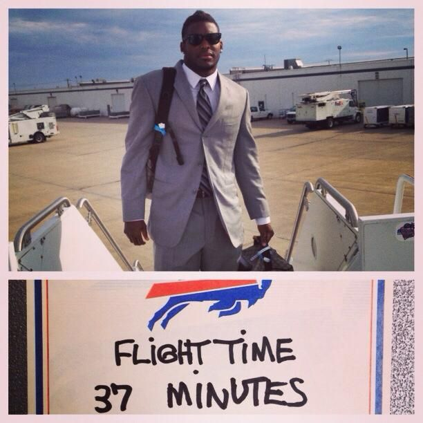 Aaron Williams suits up for the quick flight to Pittsburgh.