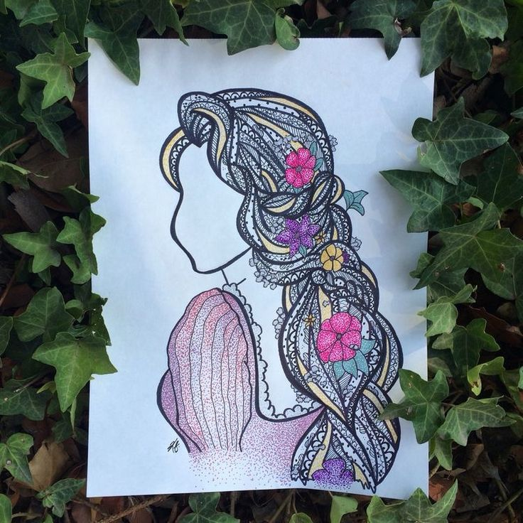 Rapunzel from Tangled drawing in coloured pencils and pens