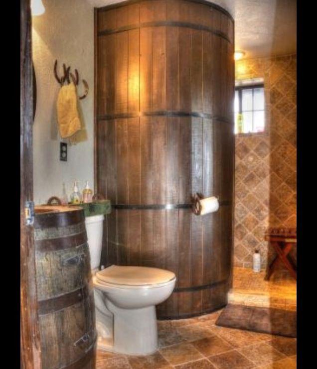 Whiskey Barrel Shower Inside The Home Pinterest