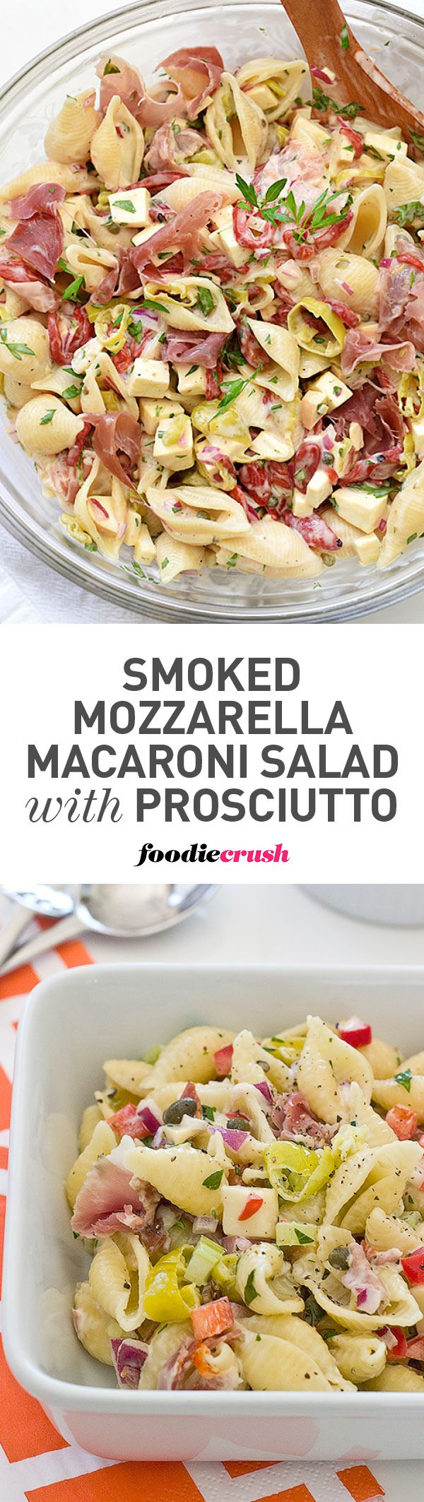 This tangy pasta salad mixes traditional macaroni salad with Italian flavors to create a new family favorite potluck salad. | foodiecrush.com #macaronisalad #potluck #salad