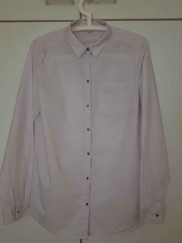 Rosa / Pink - weiß gestreifte langärmelige Bluse von Esprit mit tollen Knöpfen