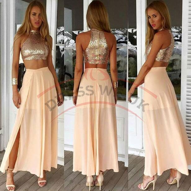 Sexy Two Piece Prom Dresses,Halter Prom Dresses,Sequined Prom Dresses,Zipper Chiffon Front Split Prom Dresses