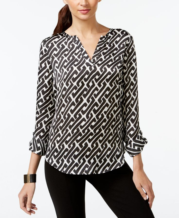 Inc International Concepts Petite Printed Kurta Blouse, Only at Macy's