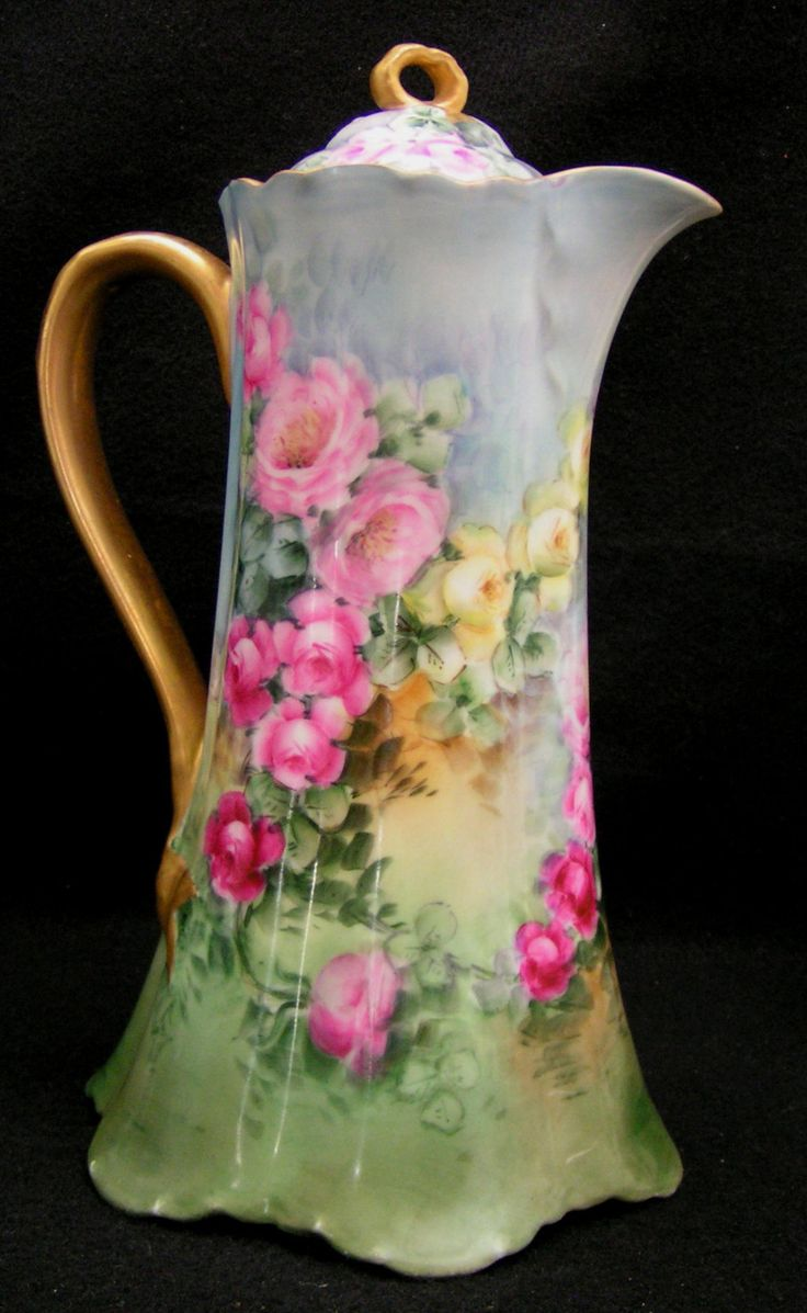 Haviland Limoges Hand Painted Signed Dated Chocolate Pot 1908  (This is stunningly beautiful!!!!)