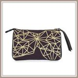 $24.90 Clutch Purse, Rectangle, 6 Australian Designs.  This Design Geometric.  Also available Red Wren; Blue Wren in Winter; Black and White Wattle; Black Cockatoo; Gold Leaf!