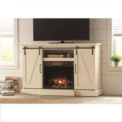 Chestnut Hill 56 in. TV Stand Electric Fireplace with Sliding Barn Door in White