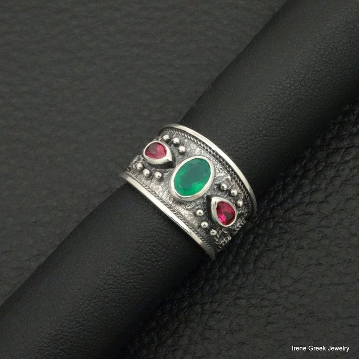 NATURAL GREEN ONYX & RUBY CZ BYZANTINE 925 STERLING SILVER GREEK HANDMADE RING #IreneGreekJewelry #Band
