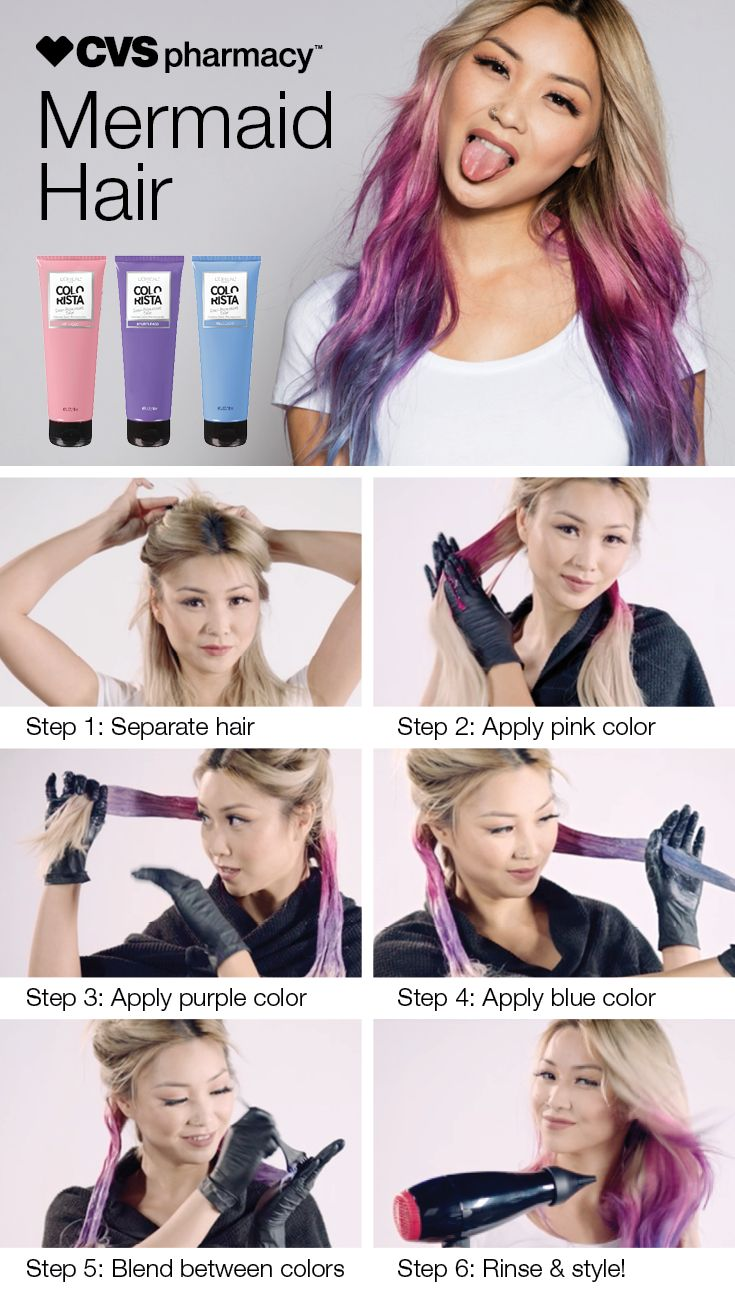 Mermaid hair is the latest trend making waves in the beauty world! Make a splash without fully taking the plunge using semi-permanent hair color like these Colorista shades from L'Oreal. Follow these steps— and after a few washes you can decide if love the look or not.