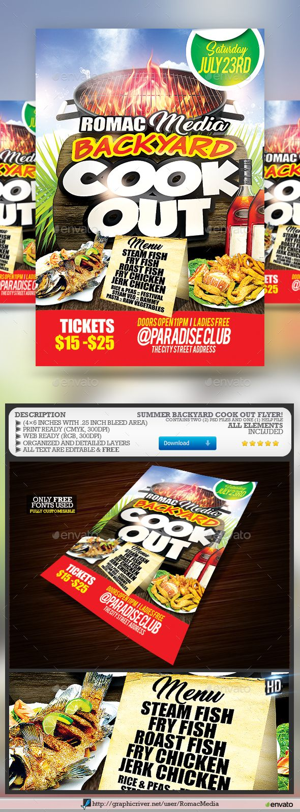 #Backyard #Cook Out Party #Flyer - Events Flyers Download here:  graphicriver.ne...