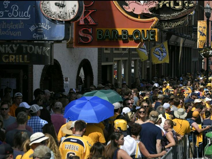 Preds fans pack Broadway in anticipation of puck drop before Game 3 in Nashville of the Stanley Cup Finals 2017.