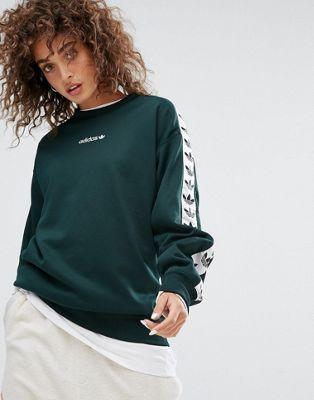 <3 adidas Originals Tnt Tape Crew Neck Sweat In Green