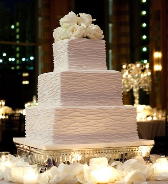 Stylish White square wedding cake