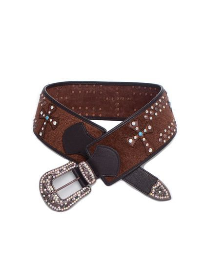 Western Rhinestone Studded Wide Cross Rodeo Hair On Belt - Brown, http://www.countryoutfitter.com/kamberley-belts/