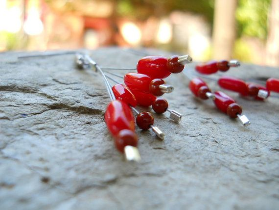 Red coral and red jasper dangly earrings on stainless steel wire (ER39). Nickel-free hooks. By FeekoByDesign, $15.00