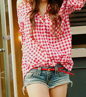❃Cowgirl Boots, Red Checkered Shirts Outfit, Summer Styles, Short Shorts, Gingham Shirts, Dreams Closets 33, Boyfriends Shirts, Checkered Tops, Cowgirls Boots