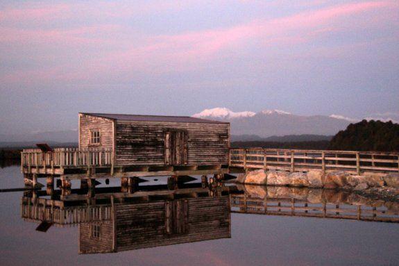 Shack by the Okarito Lagoon, sunset #activeadventures.com  Victoria Epstein, 'Winter Rimu', June 2013