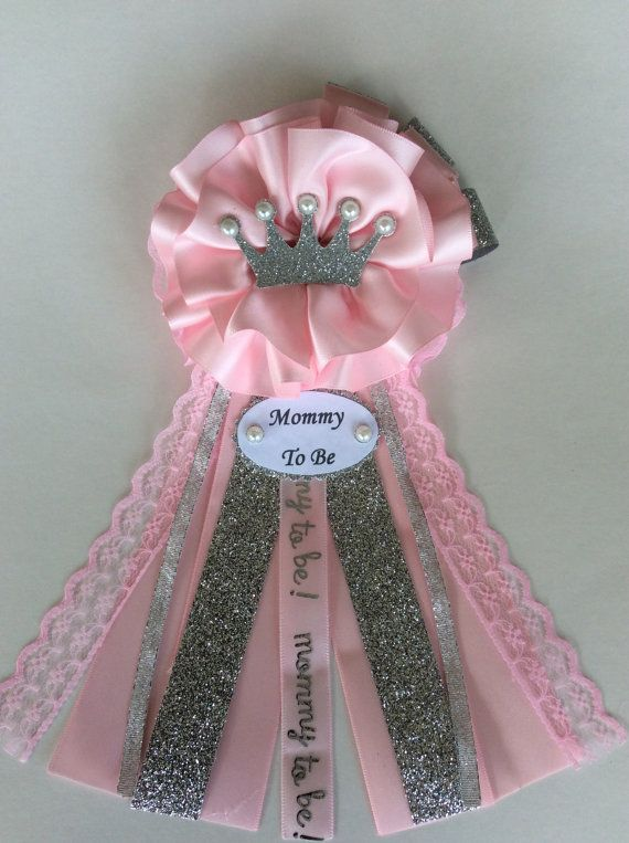 Princess Baby Shower Corsage/Pink And Silver Baby Shower Corsage/Silver  Crown Baby Shower Corsage/Baby Girl Baby Shower Corsage/Mommy To Be