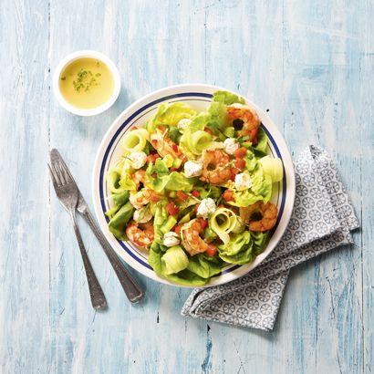 ALDI België - Recept - Slaatje met scampi's, kruidenkaasblokjes, paprika…