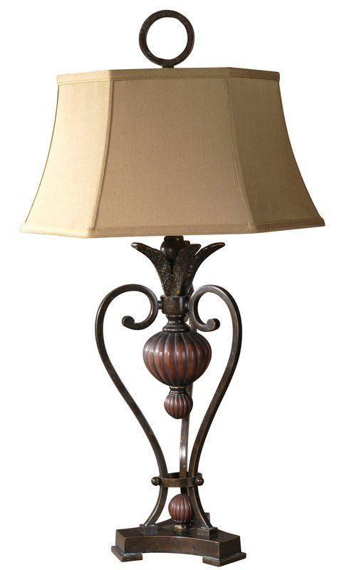 Uttermost 26917 Andra Table Lamp Golden Bronze Metal With Antique Wood Tone  Details Lamps Table Lamps