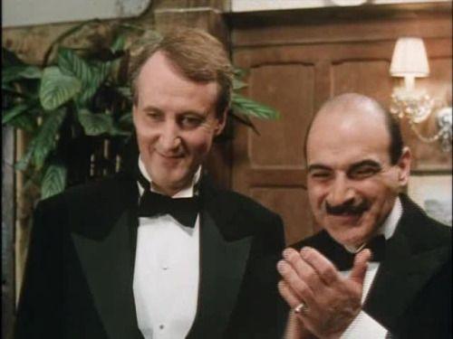 Captain Hastings (Hugh Fraser) and Hercule Poirot (David Suchet)