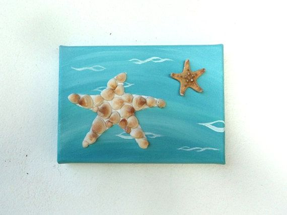 Acrylic Painting, Artwork with Seashells, Art Wall Picture of Starfish, Starfish in Seashell Mosaic, Mosaic Art, 3D Art Collage, Home Decor, Wall Decor #ArtworkwithSeashells #mosaiccollage #seashellmosaic #homedecor #walldecor #3D