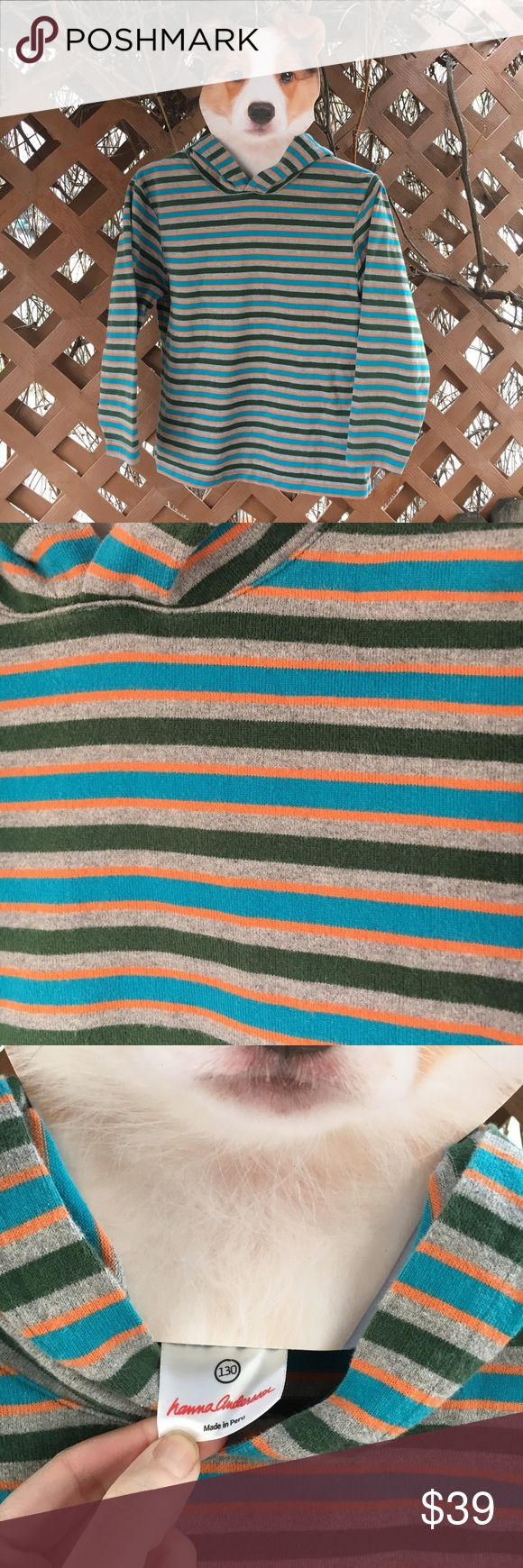 {hanna andersson} Boys Striped Hoodie Tee 8/10 EUC! Only worn and washed twice. Long sleeve hooded tee, but nice thick material. Hanna Andersson quality, comfort and durability. Grey, green, blue and orange stripes. Warm, cozy and just cool. Size 130, according to official website size chart is a US 8/10. Hanna Andersson Shirts & Tops Sweatshirts & Hoodies