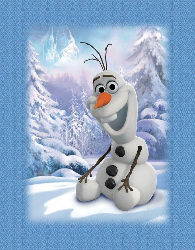 """The Frozen """"Olaf"""" cartoon Mink Blanket measures 60 x 80 inches (twin size) and comes in a reusable plastic carrying case. IT is big enough to cover yourself on your sofa or drape over a twin or full size bed.  It is officially licensed by Disney. These blankets are extra warm & plush and have superior durability. Easy Care, machine wash and dry."""