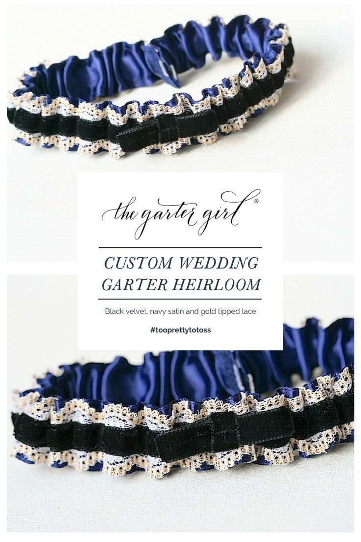 70109c5a56a CUSTOM WEDDING GARTER - navy blue satin with black velvet and gold tipped  lace   The Garter Girl hand makes one-of-a-kind heirloom wedding garters.
