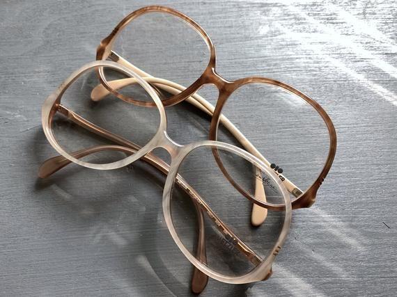 70's Metzler Eyewear Glasses Eyeglasses Frames Ash Champagne Vintage Gold Dust Caramel Brown Oversiz – Products